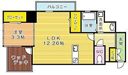 福岡県北九州市小倉北区紺屋町の賃貸マンションの間取り
