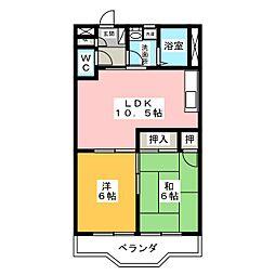 シャトー飯田1号・2号[1階]の間取り