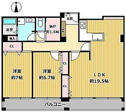 メゾン甲子園南棟[332号室]の間取り