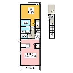 宮城県仙台市太白区袋原1の賃貸アパートの間取り