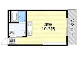 JR東海道・山陽本線 吹田駅 徒歩14分の賃貸マンション 3階ワンルームの間取り