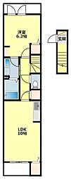 名鉄西尾線 西尾駅 徒歩34分の賃貸アパート 2階1Kの間取り