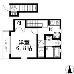 メゾン・ソレイユ長栄寺[201号室号室]の間取り