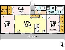 JR山陽本線 庭瀬駅 徒歩22分の賃貸アパート 2階3LDKの間取り