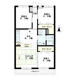ウィスタリアマンション南大泉[202号室]の間取り