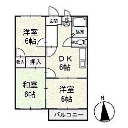 サンパール脇田B棟 2階[4号室]の間取り