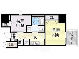 南海高野線 堺東駅 徒歩15分の賃貸マンション 1階1SKの間取り