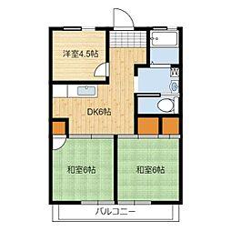 静岡県静岡市駿河区高松の賃貸アパートの間取り