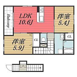 JR総武本線 八街駅 徒歩15分の賃貸アパート 2階2LDKの間取り