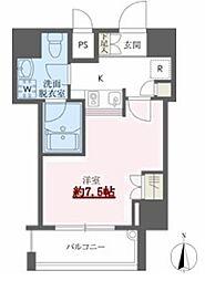 東京メトロ東西線 門前仲町駅 徒歩22分の賃貸マンション 8階1Kの間取り