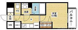 メインステージ新大阪 5階1Kの間取り