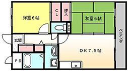 カーサオクノ[402号室]の間取り