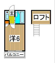 アミューズメント21塚越[102号室]の間取り