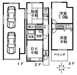 [一戸建] 大阪府羽曳野市駒ケ谷 の賃貸【/】の間取り