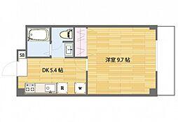 JR山陽本線 西川原駅 徒歩3分の賃貸マンション 3階1DKの間取り