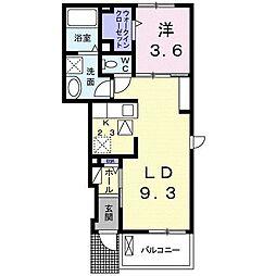 西武新宿線 入曽駅 徒歩21分の賃貸アパート 1階1LDKの間取り