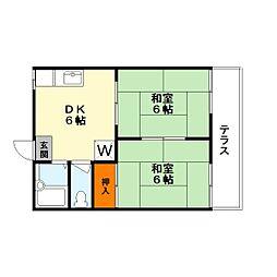 久保江ハイツ[1階]の間取り