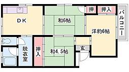 兵庫県高砂市米田町米田の賃貸マンションの間取り