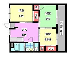 福岡県北九州市八幡西区割子川1丁目の賃貸マンションの間取り