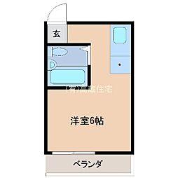 スカイマンション金城 2階ワンルームの間取り