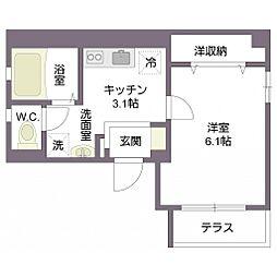 オリザ西新宿 1階1Kの間取り