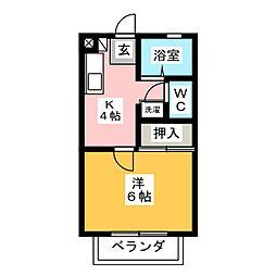 愛知県北名古屋市九之坪小松の賃貸アパートの間取り