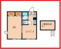 東京都葛飾区東立石1丁目の賃貸アパートの間取り