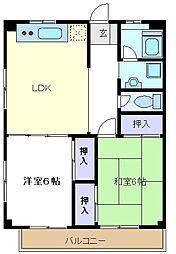 埼玉県さいたま市中央区新中里3丁目の賃貸マンションの間取り