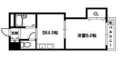 上新庄グランドハイツ 2階1DKの間取り