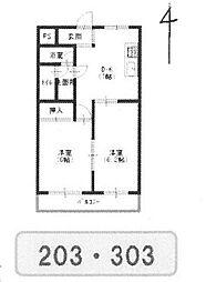 ロイヤルメゾン武庫之荘9[303号室]の間取り