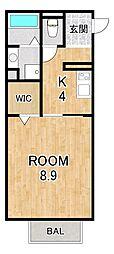 仮称)D-room大萱2丁目ハイツ 1階1Kの間取り