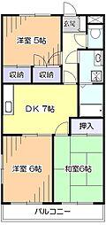 東京都東村山市廻田町2丁目の賃貸マンションの間取り