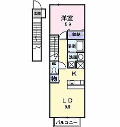 東京都日野市大字上田の賃貸アパートの間取り