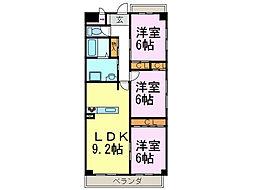 パークサイド雁宿2号館[7階]の間取り