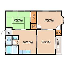 静岡県静岡市葵区瀬名の賃貸アパートの間取り