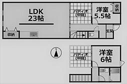 クレスト甲東園C棟[C-5号室]の間取り