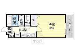 Osaka Metro谷町線 千林大宮駅 徒歩11分の賃貸アパート 3階1Kの間取り