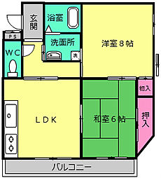 パークサイドマンション[203号室]の間取り