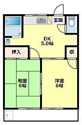 愛知県豊田市花園町才兼の賃貸アパートの間取り
