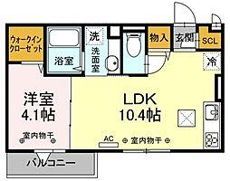 マ・メゾンV 1階1LDKの間取り