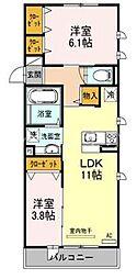メゾンヤマダ2[2階]の間取り