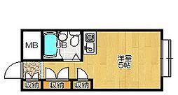 大阪府大東市津の辺町の賃貸マンションの間取り