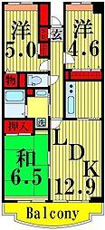 東京都足立区六月3丁目の賃貸マンションの間取り