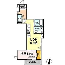 小田急小田原線 登戸駅 徒歩15分の賃貸アパート 3階1LDKの間取り