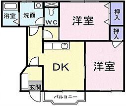 埼玉県川口市大字久左衛門新田の賃貸アパートの間取り