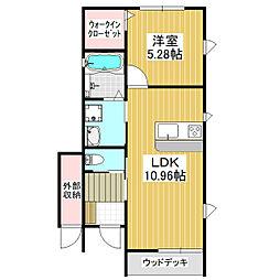 仮)みどりの東新築B 1階1LDKの間取り