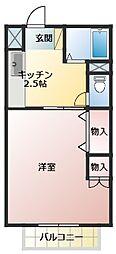 ソシアII 1階1Kの間取り
