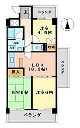 一光大井ハイツ高蔵東館[2階]の間取り