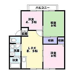 サンフォーレハイツB棟[2階]の間取り