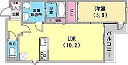 テラコート北野坂 2階1LDKの間取り